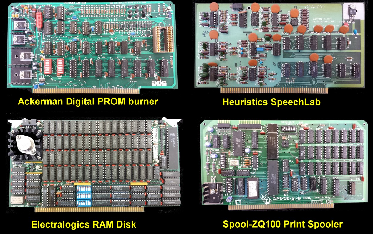 S100 Computers Computer Technology Circuit Board With Multiple Electronic Components These Included Modem Boards Math Processor Speech Synthesis Time Clock And Many Relay Control I O Here Are Just Four