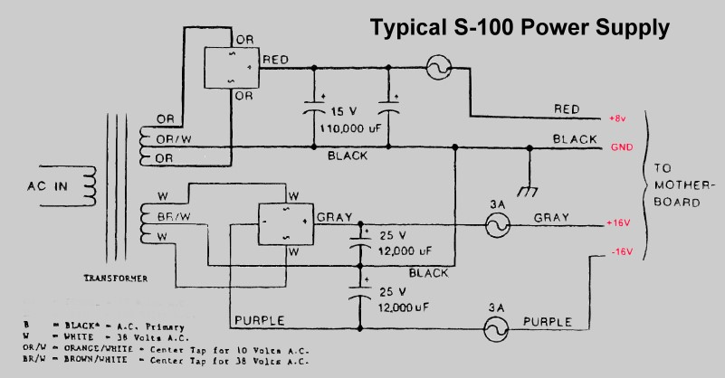 s100 computers typical s100 power supply